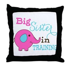 Big Sister in Training Elephant Throw Pillow