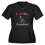 I Love Grandma Women's Plus Size V-Neck Dark T-Shi