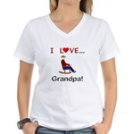 I Love Grandpa Women's V-Neck T-Shirt
