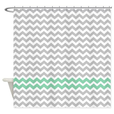 Gray And Aqua Green Chevrons Shower Curtain By FamilyFunShoppe
