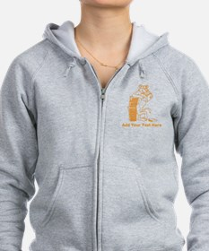 Cat Reading a Book. Text. Zip Hoodie