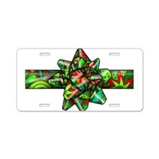 Red & Green Paisley Bow Aluminum License Plate