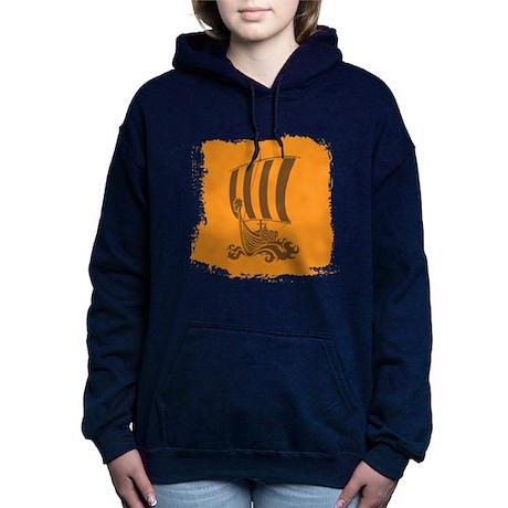 Orange and Brown Viking Design. Hooded Sweatshirt