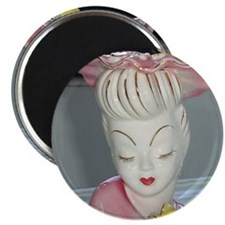 Vintage Elegant Pink Lady Head Magnet