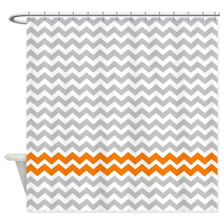 Gray And Orange Chevrons Shower Curtain By Erics Designz