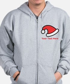 Santa Hat Picture and Text. Zip Hoodie