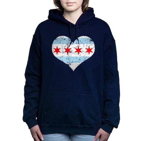 Chicago Flag Heart.png Hooded Sweatshirt
