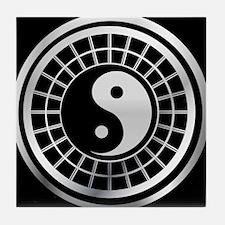 silver and black yin and yang Tile Coaster