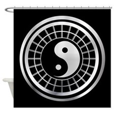 silver and black yin and yang Shower Curtain