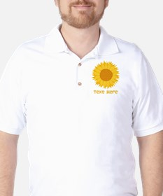 Sunflower. Custom Text. Golf Shirt