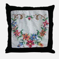 Vintage Colorful Cross Stitch Throw Pillow