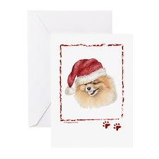 Merry Christmas Pomeranian Greeting Cards