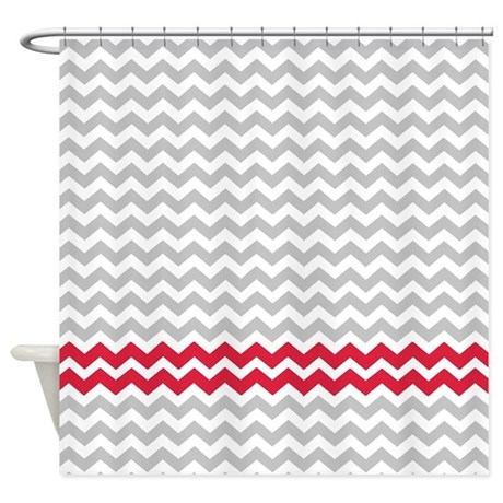 Gray And Deep Red Chevrons Shower Curtain By