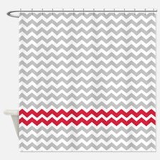 Gray and deep red chevrons Shower CurtainRed And Gray Shower Curtains   Red And Gray Fabric Shower Curtain  . Red And Cream Shower Curtain. Home Design Ideas