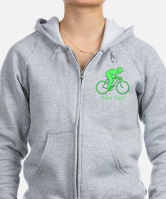 Cycling Design and Text. Green. Zip Hoodie