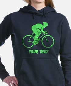 Cycling Design and Text. Green. Hooded Sweatshirt