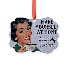 Vintage Clean My Kitchen Picture Ornament