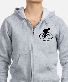 Cyclist Silhouette with Text. Zip Hoodie