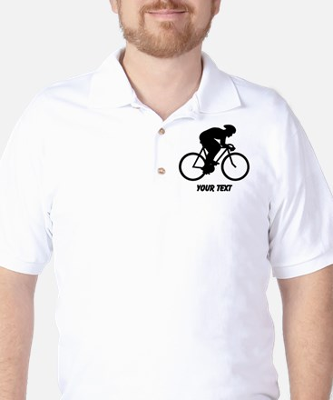 Cyclist Silhouette with Text. Golf Shirt