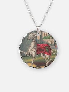 Vintage Greyhound Label Necklace