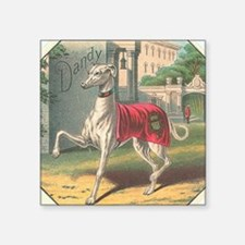 "Vintage Greyhound Label Square Sticker 3"" x 3"""