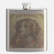 Vintage Label Ever Faithful Dog Flask