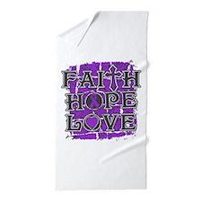 Epilepsy Faith Hope Love Beach Towel
