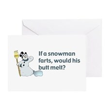 Snowman Fart Greeting Cards