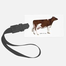 Red and White Holstein Milk Cow Luggage Tag