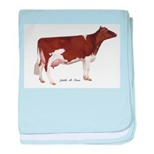Red and White Holstein Milk Cow baby blanket