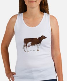 Red and White Holstein Milk Cow Women's Tank Top