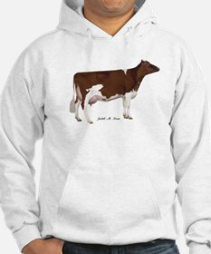 Red and White Holstein Milk Cow Hoodie