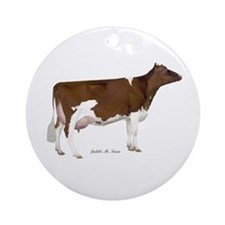 Red and White Holstein Milk Cow Ornament (Round)