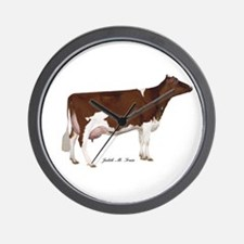 Red and White Holstein Milk Cow Wall Clock