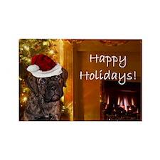 Happy Holidays Mastiff puppy Magnets