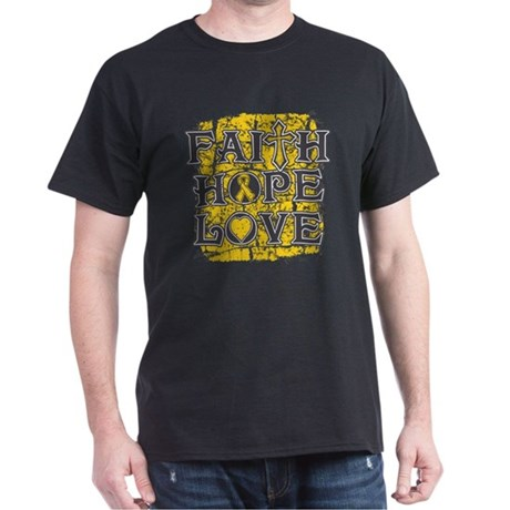 Childhood Cancer Faith Hope Love Dark T-Shirt