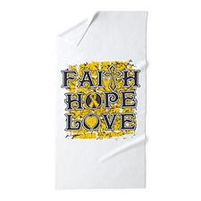Childhood Cancer Faith Hope Love Beach Towel