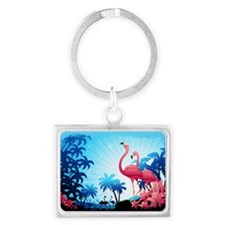 Pink Flamingos on Blue Tropical Landscape Keychain
