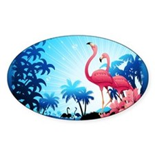 Pink Flamingos on Blue Tropical Landscape Decal