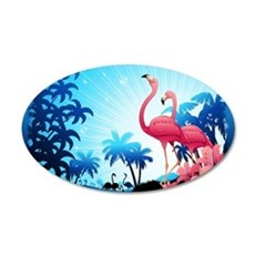 Pink Flamingos on Blue Tropical Landscape Wall Dec