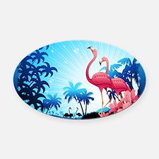 Pink Flamingos on Blue Tropical Landscape Oval Car