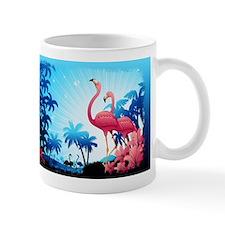 Pink Flamingos on Blue Tropical Landscape Mugs