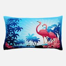Pink Flamingos on Blue Tropical Landscape Pillow C