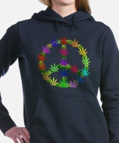 Rainbow Peace Marijuana Leaf Art Hooded Sweatshirt