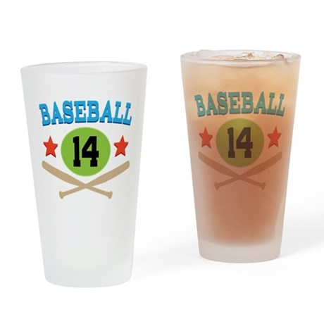 Baseball Player Number 14 Drinking Glass