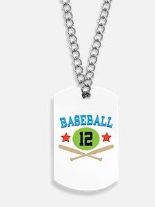 Baseball Player Number 12 Dog Tags