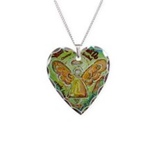 Rainbow Cancer Angel Necklace Heart Charm