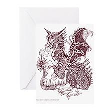 Laughing Sepia Dragon Greeting Cards (Pk of 10