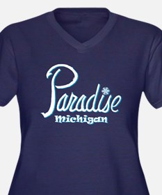 Paradise, MI Women's Plus Size V-Neck Dark T-Shirt