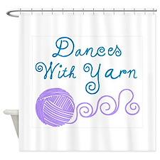 DancesWithYarnDark.png Shower Curtain
